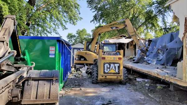 Tearing down a mobile home in Wichita, KS
